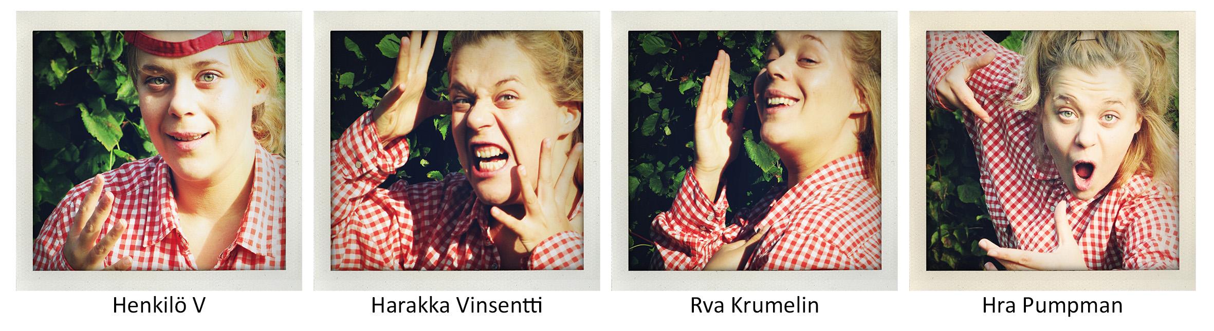 Näytelmän V ja Vinsentti hahmoja esittää sama henkilö.